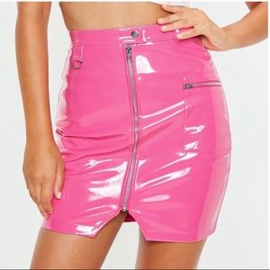 Hot Pink Faux Patent Leather Mini Skirt💖